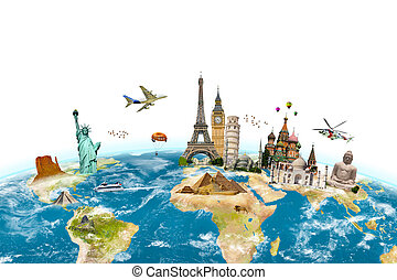 Famous monuments of the world surrounding planet Earth on...