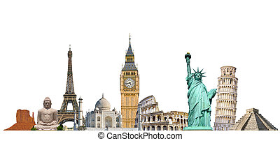 Famous monuments of the world grouped together on white...