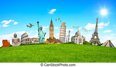 Famous monuments of the world surrounding green grass -...