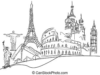 famous monuments on white background