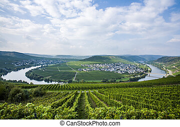 Famous Moselle river loop in Trittenheim, Germany