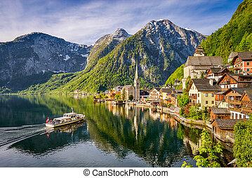Famous mountain village Hallstatt, Austria
