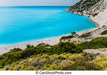 Famous Myrtos Beach. Must see visiting location on Kefalonia Greece.