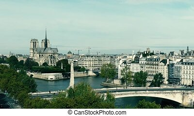 Famous Notre-Dame Cathedral and the Seine river in Paris,...
