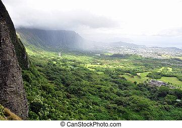 Nuuanu Pali Lookout - Famous Nuuanu Pali Lookout on the...