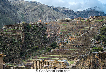 Famous Ollantaytambo pre-Columbian Inca site in Cusco...