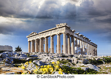 Parthenon temple on the Acropolis in Athens, Greece - Famous...