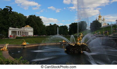 famous petergof Samson fountain in St. Petersburg Russia - timelapse