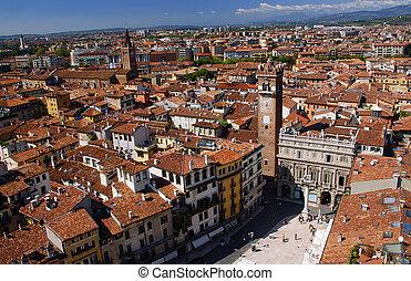 Piazza delle Erbe - Famous Piazza delle Erbe in Verona,...