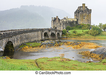 Eliean Donan Castle and Loch Duich in the Scotland Highlands...