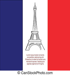 famous place - a french flag with a black silhouette of the...