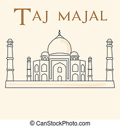 famous place - a sketch of the taj majal on a white...