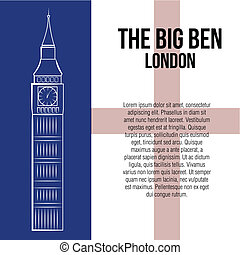 famous place - a white sketch of the big ben on a colored...