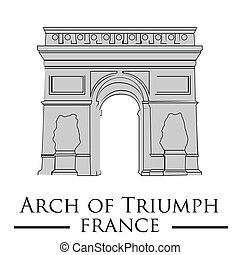 famous place - an isolated arch of triumph on a white...