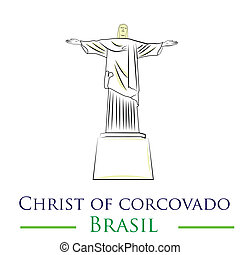 famous place - an isolated christ of corcovado on a white...