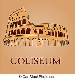famous place - an isolated coliseum on a light brown...