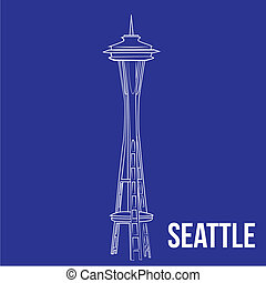 famous place - an isolated seattle tower on a blue...