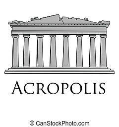 an isolated sketch of the acropolis on a white background