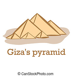 famous place - an isolated sketch of the giza's pyramid on a...