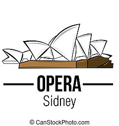 famous place - an isolated sketch of the sidney opera on a...
