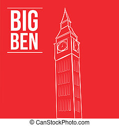 famous place - an isolated white sketch of the big ben on a...