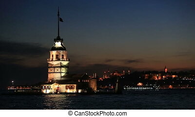 famous place ancient Maiden's Tower at Istanbul Turkey blue...