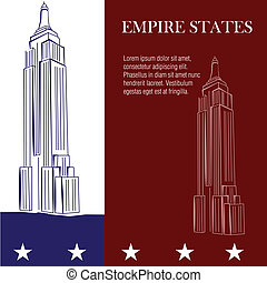 famous place - a pair of sketches of the empire states on a...