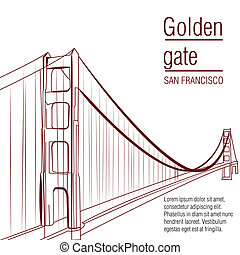 famous place - a brown sketch of the golden gate on a white...