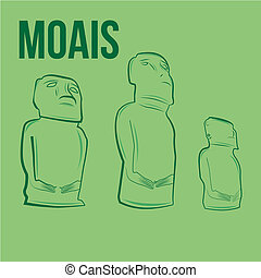 famous place - three big statues of the moais on a green...
