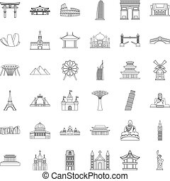 Famous place icons set, outline style