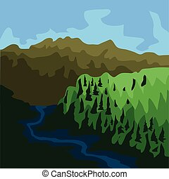 Famous place in colombia. Chingaza national natural park - Vector