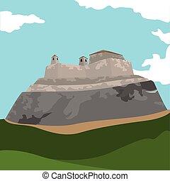 Famous place in colombia. San Felipe castle - Vector