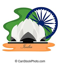 Famous place in india. Lotus temple - Vector