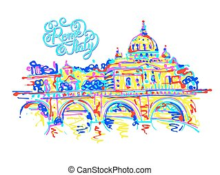 place of Rome Italy, original drawing in rainbow colours contemp