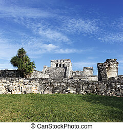 famous place of Tulum - Famous ruins of Tulum in Mexico with...