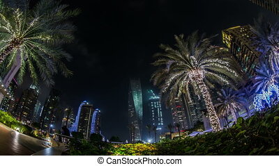 famous place River Walk in Dubai - time lapse photography,...