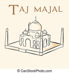 famous place - an isolated sketch of the taj majal on a...