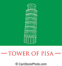 famous place - an isolated white sketch of the tower of pisa...