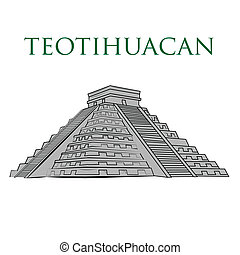 famous place - an isolated teotihuacan pyramid on a white...