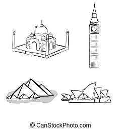 a set of sketches of famous place on a white background