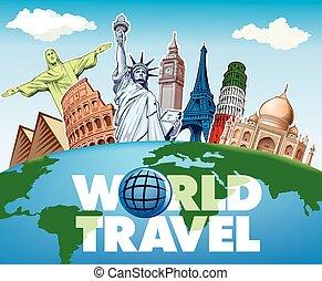 famous places - Big Ben London, Eiffel tower Paris, Roma Colloseum, Pisa, Statue of liberty NYC, Taj Mahal, Egypt pyramides