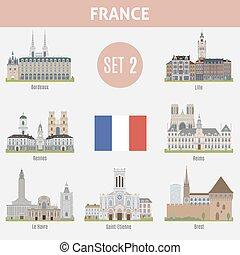 Famous Places cities in France. Bordeaux, Lille, Rennes, ...
