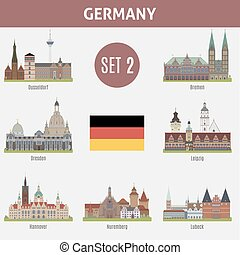 Famous Places cities in Germany. Dusseldorf, Bremen,...