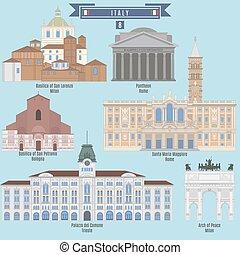 Famous Places in Italy: Basilica of San Lorenzo - Milan, Pantheon - Rome, Basilica of San Petronio - Bologna, Palazzo del Comune - Trieste, Arch of Peace - Milan, Santa Maria Maggiore - Rome