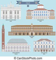 Famous Places in Italy: Basilica of St. John Lateran - Rome, Palazzo Barberini - Rome, Royal Palace - Napoli, Basilica Palladiana - Vicenza, Teatro alla Scala - Milan