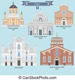 Famous Places in Italy: Basilica of Superga - Turin, Milan Cathedral, Cathwdral of Santa Agatha - Catania, Santi Giovanni e Paolo Church - Venice, Church of Holy Mary of Grace - Milan