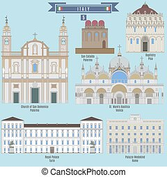 Famous Places in Italy: Church of San Domenico - Palermo, San Cataldo - Palermo, Baptistry - Pisa, Royal Palace - Turin, St. Mark's Basilica - Vinice, Palazzo Wedekind - Rome