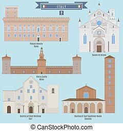 Famous Places in Italy: Palazzo Venezia - Rome, Duomo di Verona, Sforza Castle - Milan, Basilica of Saint Nicholas - Bari, Basilica of Sant Apollinare Nuovo - Ravenna