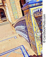 Famous Plaza de Espana ceramics, Sevilla, Spain. Old landmark.