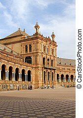 Famous Plaza de Espana, Sevilla, Spain. Old city landmark.